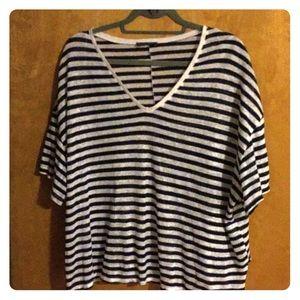 Zara Navy and White Striped V Neck Linen T
